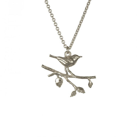 Perched Warbler Silver Necklace