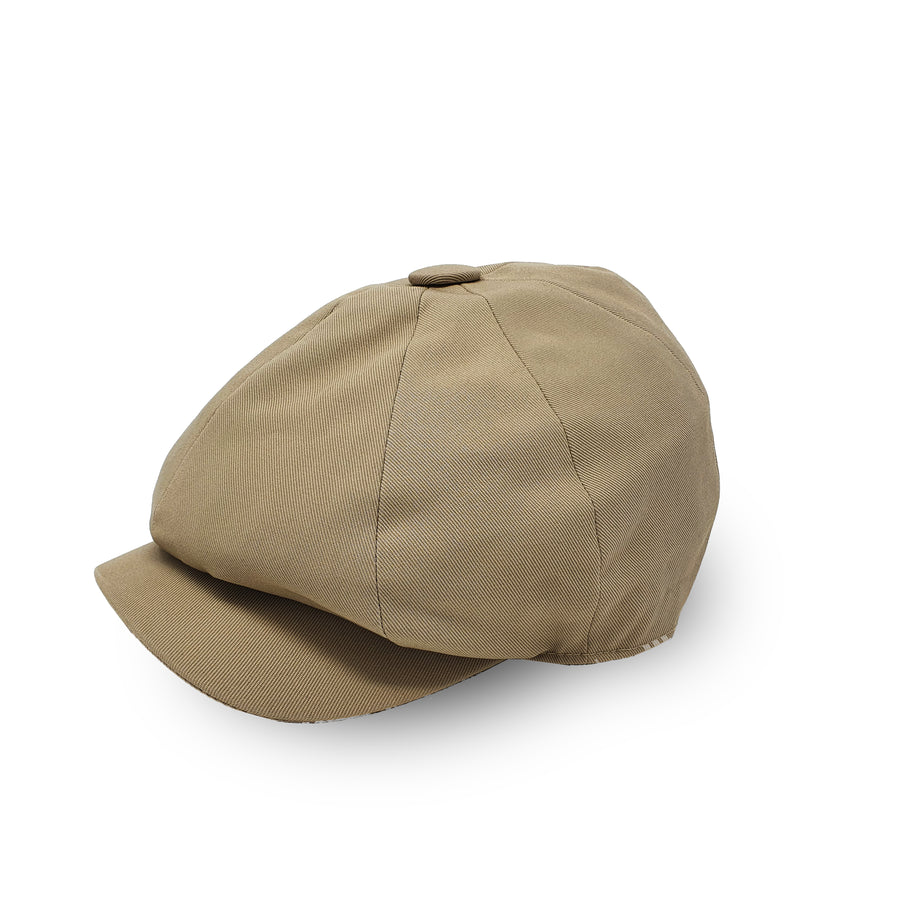 Beige Cotton Newsboy Cap