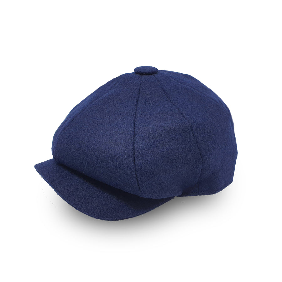 Blue Wool Newsboy Cap