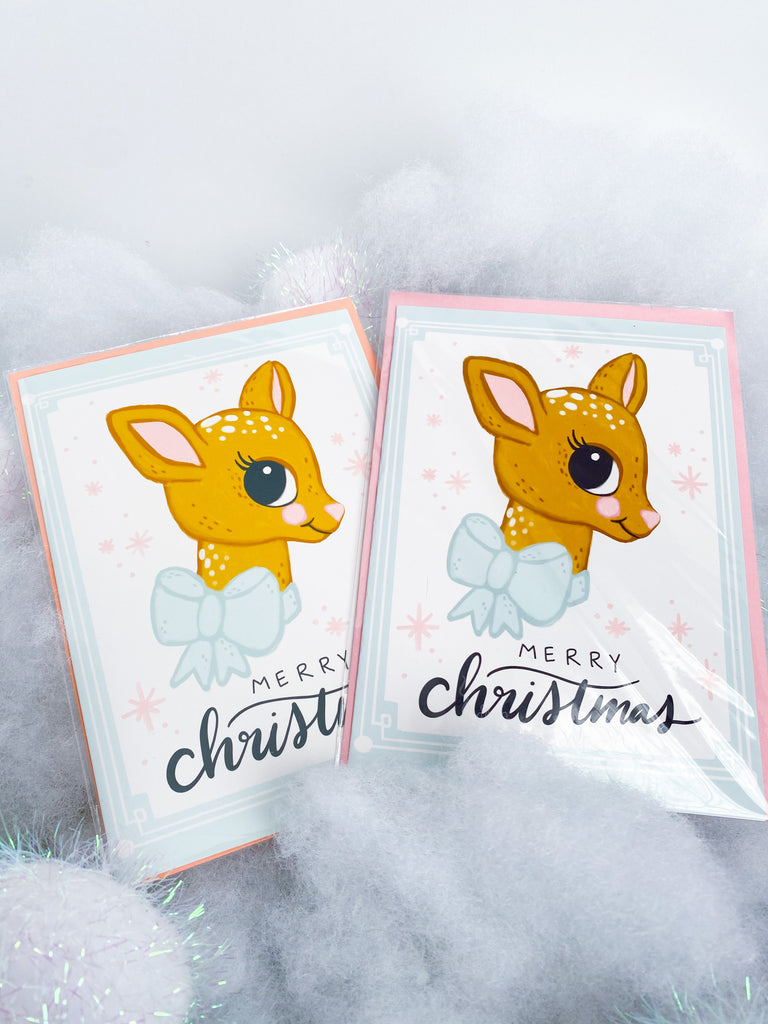Merry Christmas Retro Fawn Card