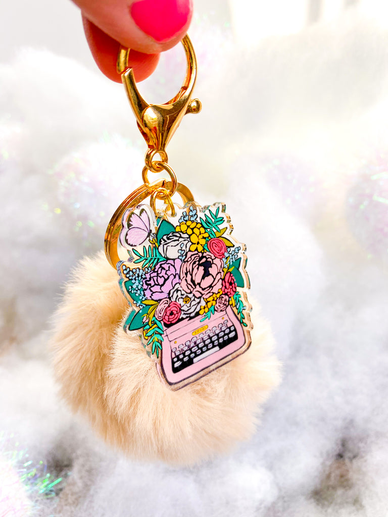 My Soul Speaks In Flowers | Keychain Pom Toasted Marshmallow