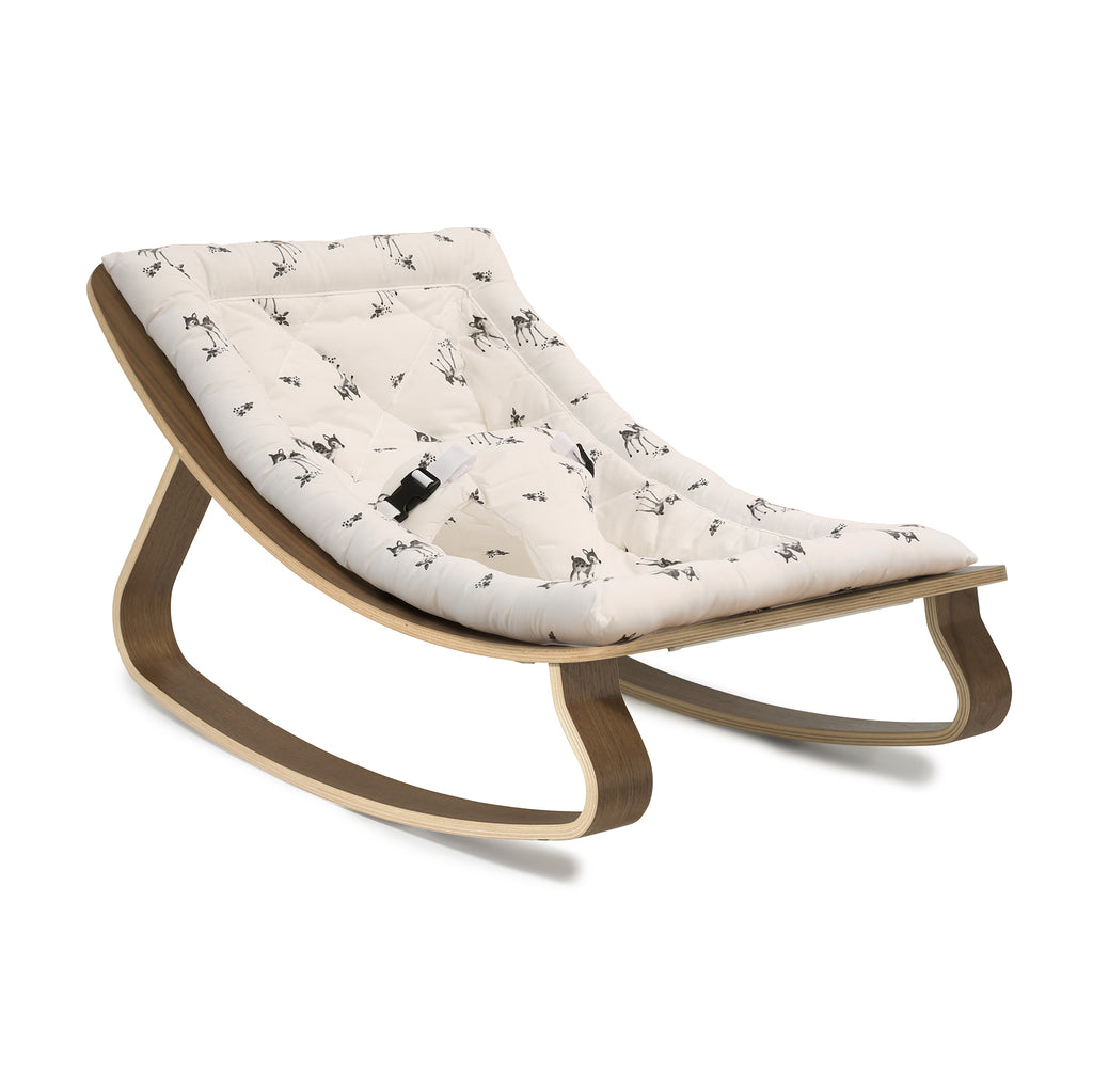 Charlie Crane Baby Rocker LEVO in Walnut with Rose in April Fawn Cushion