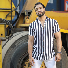 Load image into Gallery viewer, Stripe Printed Short Sleeve Shirt