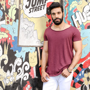 Maroon Scoop Neck T-shirt