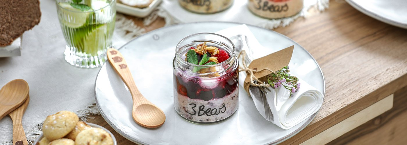 Beary Overnight Oats with Berry Jam