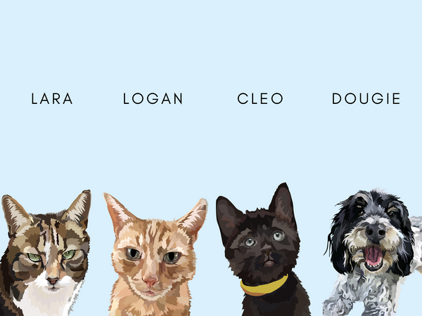 Print Only: Four Pets