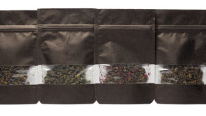 10g resealable taster pack of loose leaf oolong tea with a clear band showing the loose leaves