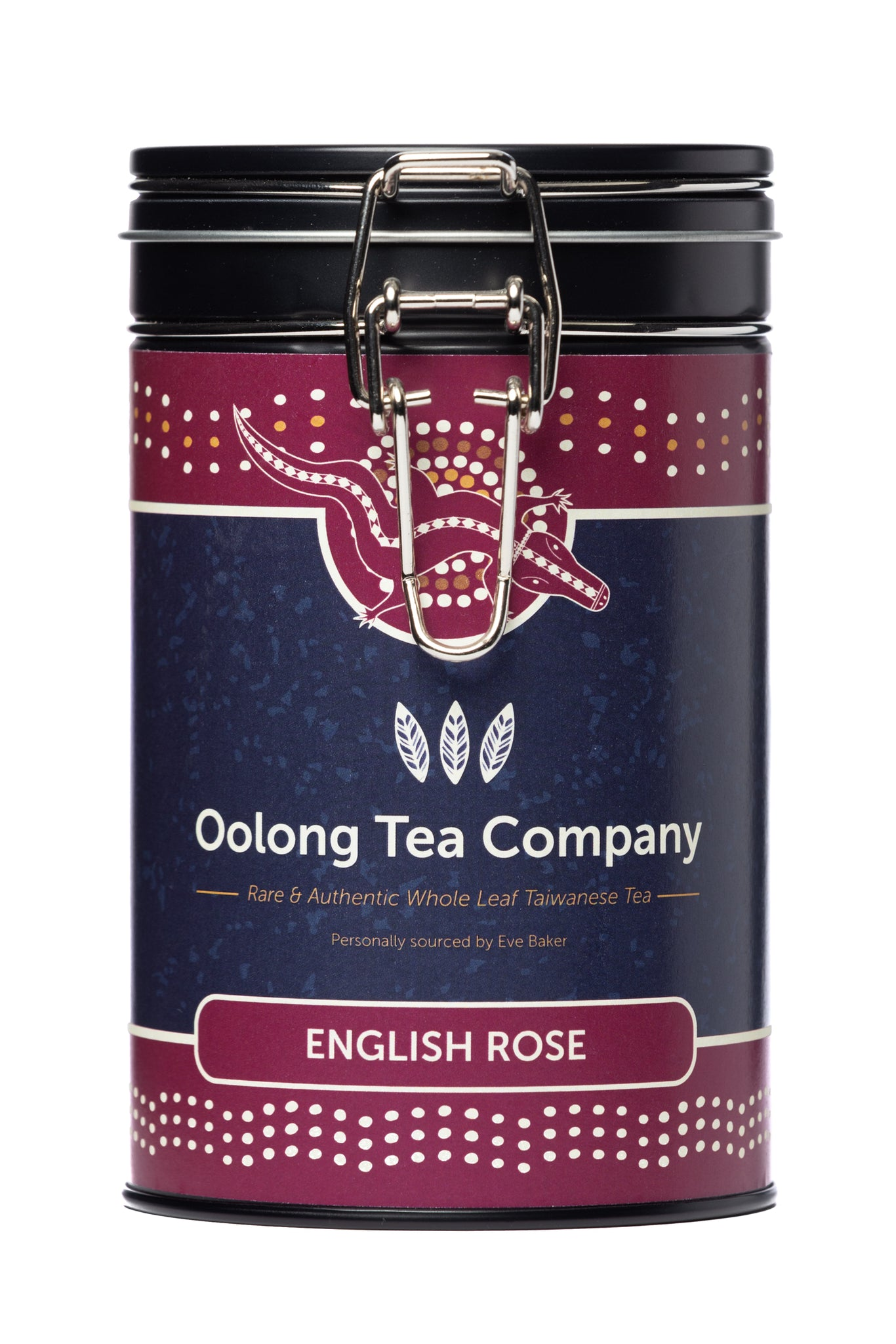 75 grams of loose leaf English Rose Oolong tea from the Nantou county of Taiwan in a round black tea caddy with an easy opening silver clip