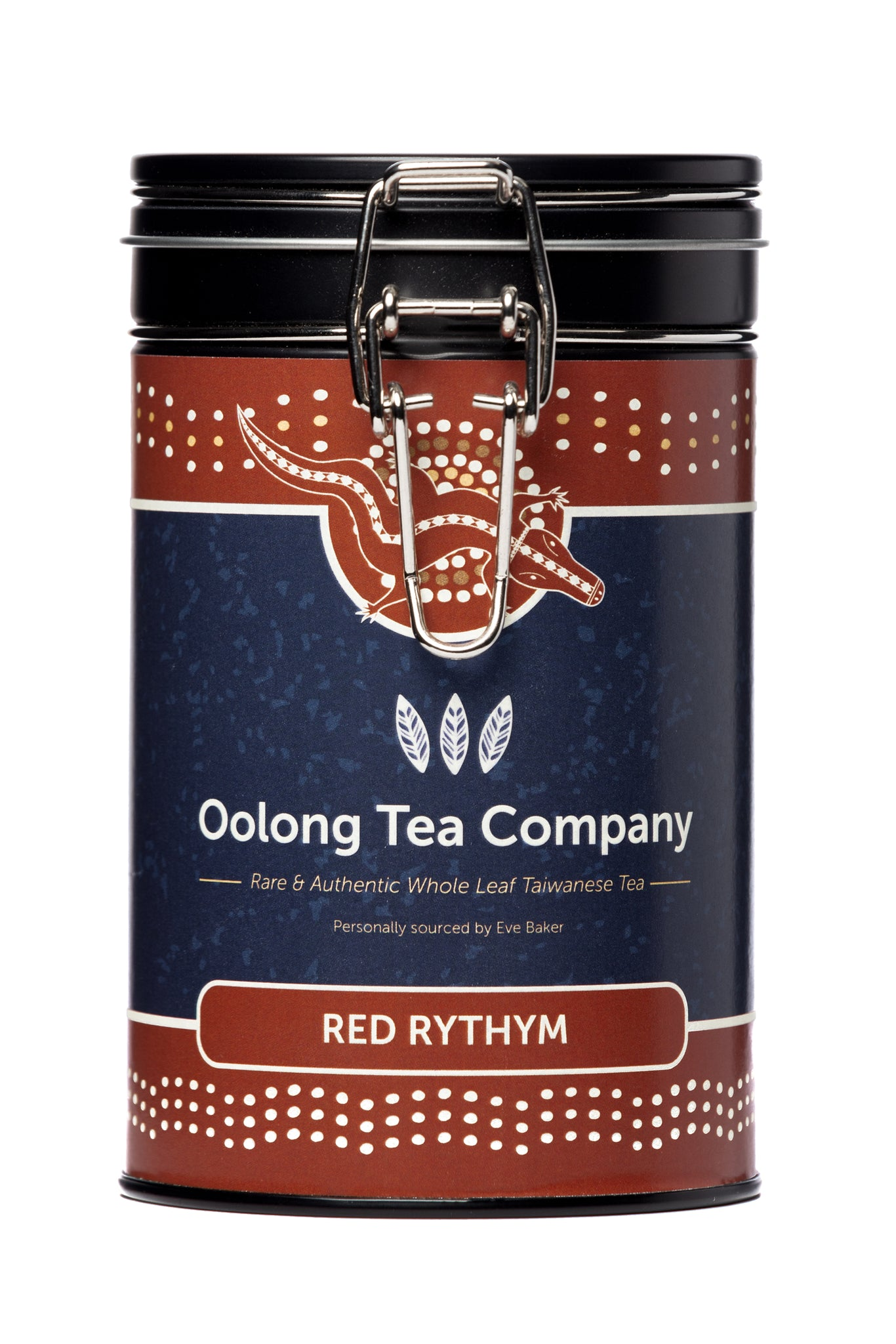 75 grams of Red Rhythm also known as number 21 loose leaf high mountain Oolong tea from the Nantou county of Taiwan in a round black tea caddy with an easy opening silver clip