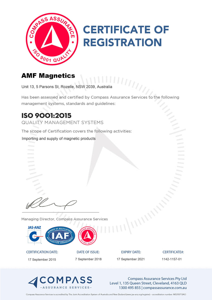 AMF Magnetics ISO Certificate