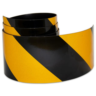 Reflective Magnetic Tape | Hi-Vis Black and Yellow | 75mm x 0.8mm | PER METRE