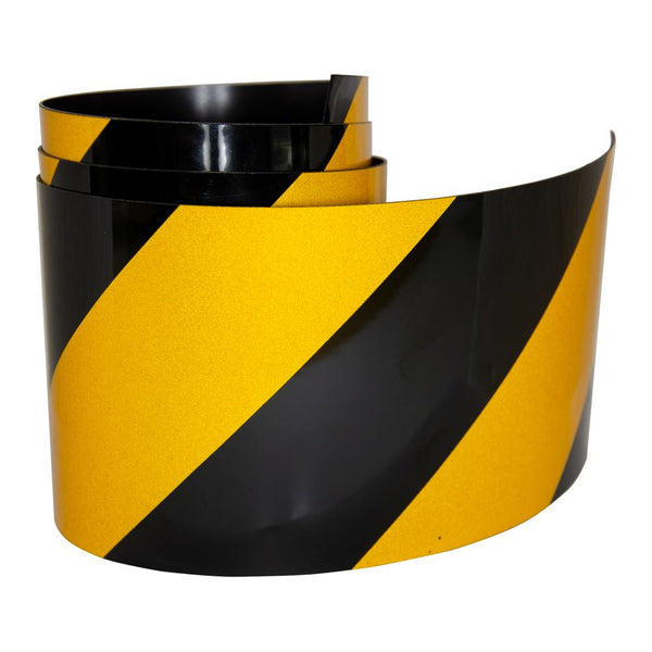 Reflective Magnetic Tape | Hi-Vis Black and Yellow | 100mm x 0.8mm | PER METRE