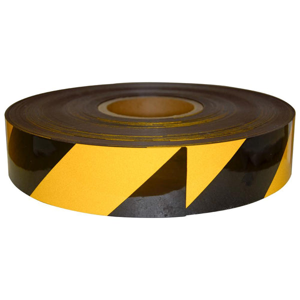 Reflective Magnetic Tape | Hi-Vis Black and Yellow | 50mm x 0.8mm x 45m ROLL