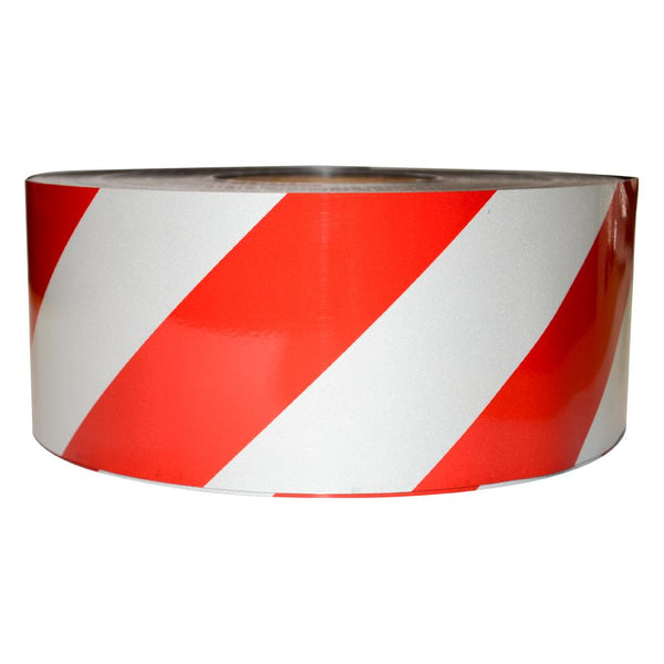 Reflective Magnetic Tape | Hi-Vis Red and White | 100mm x 0.8mm x 45m ROLL