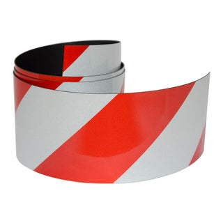 Reflective Magnetic Tape | Hi-Vis Red and White | 50mm x 0.8mm | PER METRE