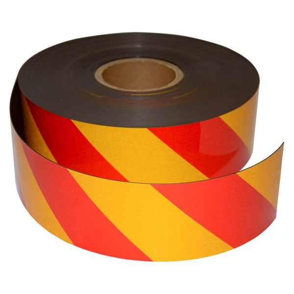 Reflective Magnetic Tape | Hi-Vis Red and Yellow | 75mm x 0.8mm x 45m ROLL