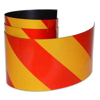 Reflective Magnetic Tape | Hi-Vis Red and Yellow | 100mm x 0.8mm | PER METRE