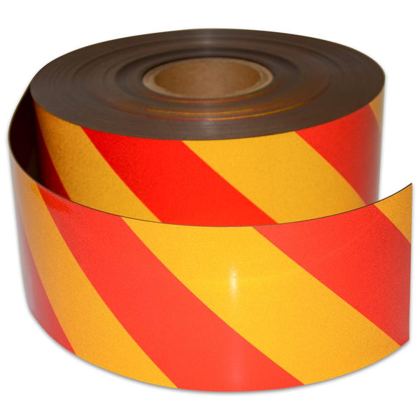 Reflective Magnetic Tape | Hi-Vis Red and Yellow | 100mm x 0.8mm x 45m ROLL