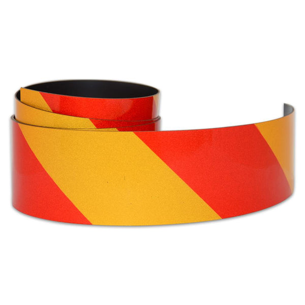 Reflective Magnetic Tape | Hi-Vis Red and Yellow | 50mm x 0.8mm | PER METRE
