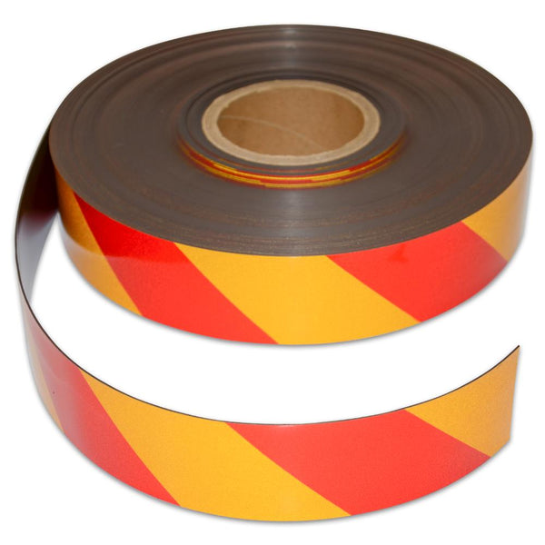 Reflective Magnetic Tape | Hi-Vis Red and Yellow | 50mm x 0.8mm x 45m ROLL