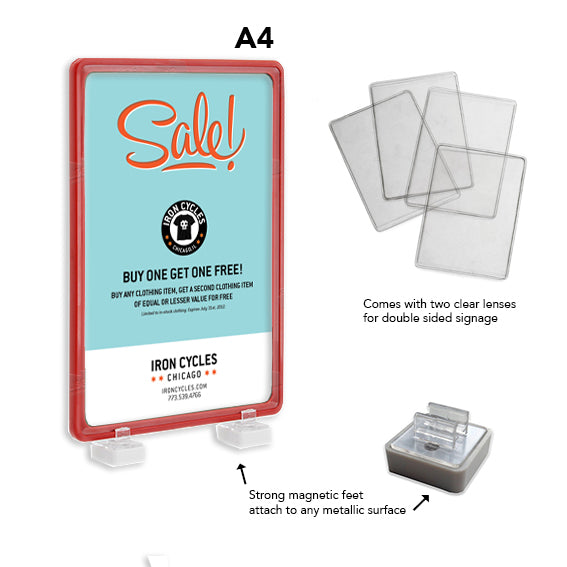 A4 Magnetic Display Frame Red