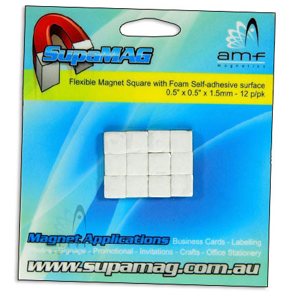 Flexible Magnet with Foam adhesive - 12.7mm x 12.7mm x 1.5mm