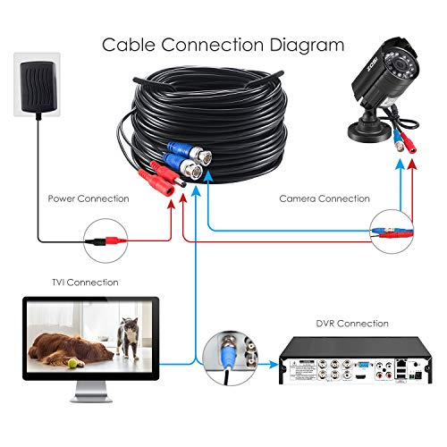 Zosi 100 Feet 30m Video Power Bnc Rca Cable Wires For Cctv Security Ca Directnine Japan