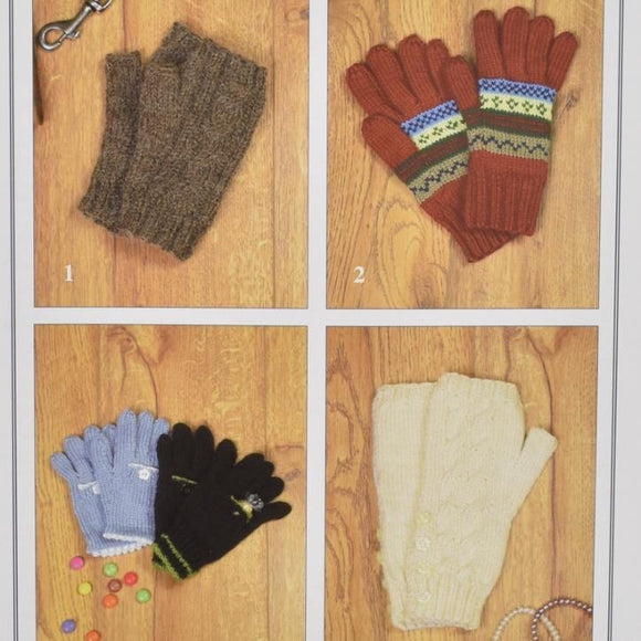 Hand Warmers and Gloves Knitting Pattern (Ladies/Children)