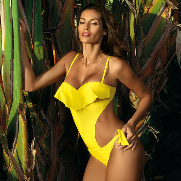One Piece Swimsuit for Women - Deep v Monokini Bodysuit