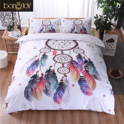 Bonenjoy White Bedding Set - Quilt Cover Feather Print