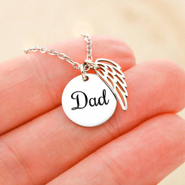 61-Guardian Angel Father Memorial Circle Necklace with Angel Wing