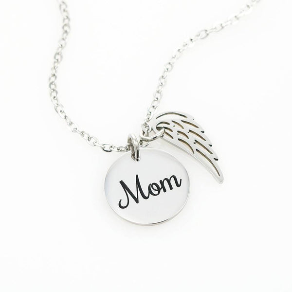 61-Guardian Angel In Memory of Mother - Circle Necklace with Angel Wing