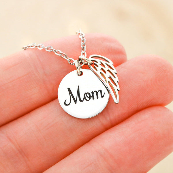 In Memory of Mother - Circle Necklace with Angel Wing