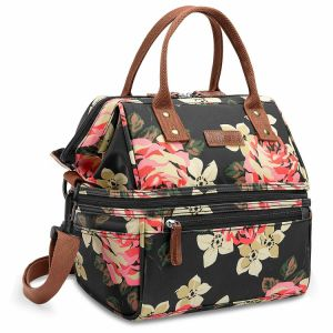 Leak-Proof Lunch Bag Wide Insulated Box Double/Dual Large Capacity Cooler Tote Flower Printed