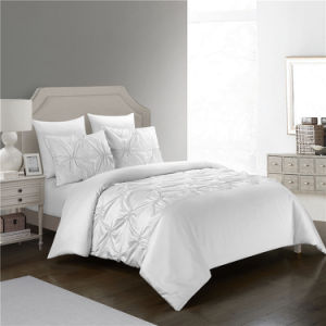 SAXTX Ruched Simulation Silk Satin Queen Duvet Cover Set with Elastic Embrodeiry - White