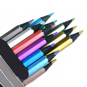 12x Metallic Non-Toxic Colored Drawing Pencils 12 Color Drawing Sketching Pencil