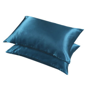 SAXTX Satin Pillowcase for Hair and Skin, 2-Pack - King Size (20x40inches) Pillow Cases with Envelope Closure - Navy Blue