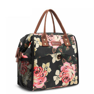 Leak-Proof Water-Proof Lunch Bag Wide Insulated Thermal Cold Cooler Tote Pure Flower Printed