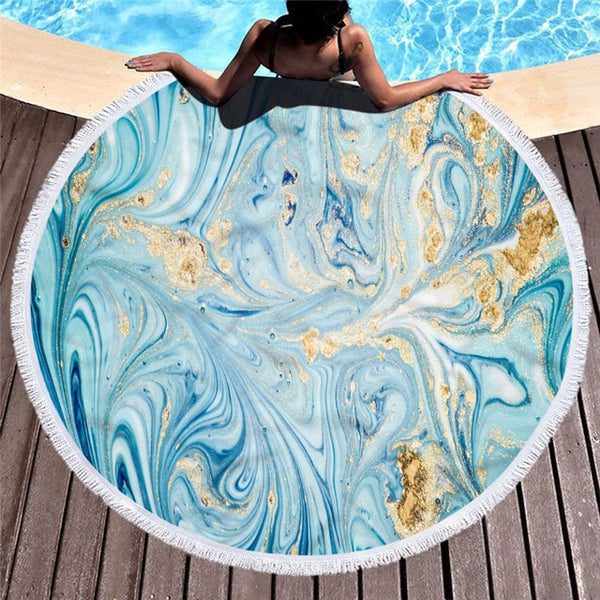 Marble Large Round Beach Towel