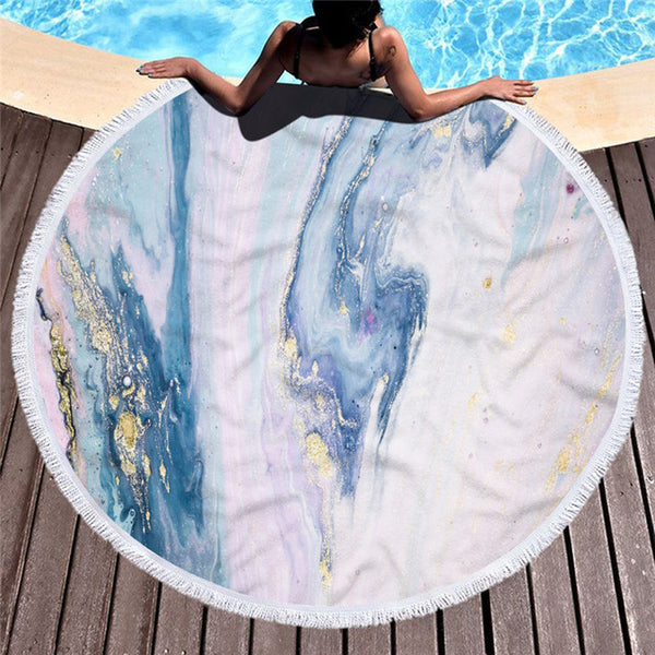 Microfiber Marble Abstract Pattern Beach Towel - Round