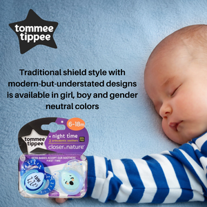 Tommee Tippee Closer To Nature 2Pk Night Time Soother with Case (6-18 Months)