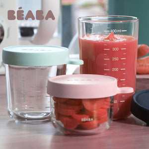 BEABA Conservation Jars in Superior Quality Glass - Pink & Dark Pink