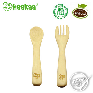 Haakaa Bamboo Spoon _ Fork Set (Pack Of 2)