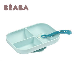 BEABA Silicone Suction Divided Plate + 2nd Age Spoon - Blue