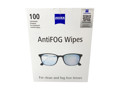 Zeiss - Anti Fog Pre-Moistened Lens Cleaning Wipes | Individually Wrapped| Cleans Without Streaks for Camera Lenses and Eyeglasses | Box of 100PCs| (6x5inch / 15x 13cm) / Free Gift of Zeiss Cleaning Wipe (30pc)