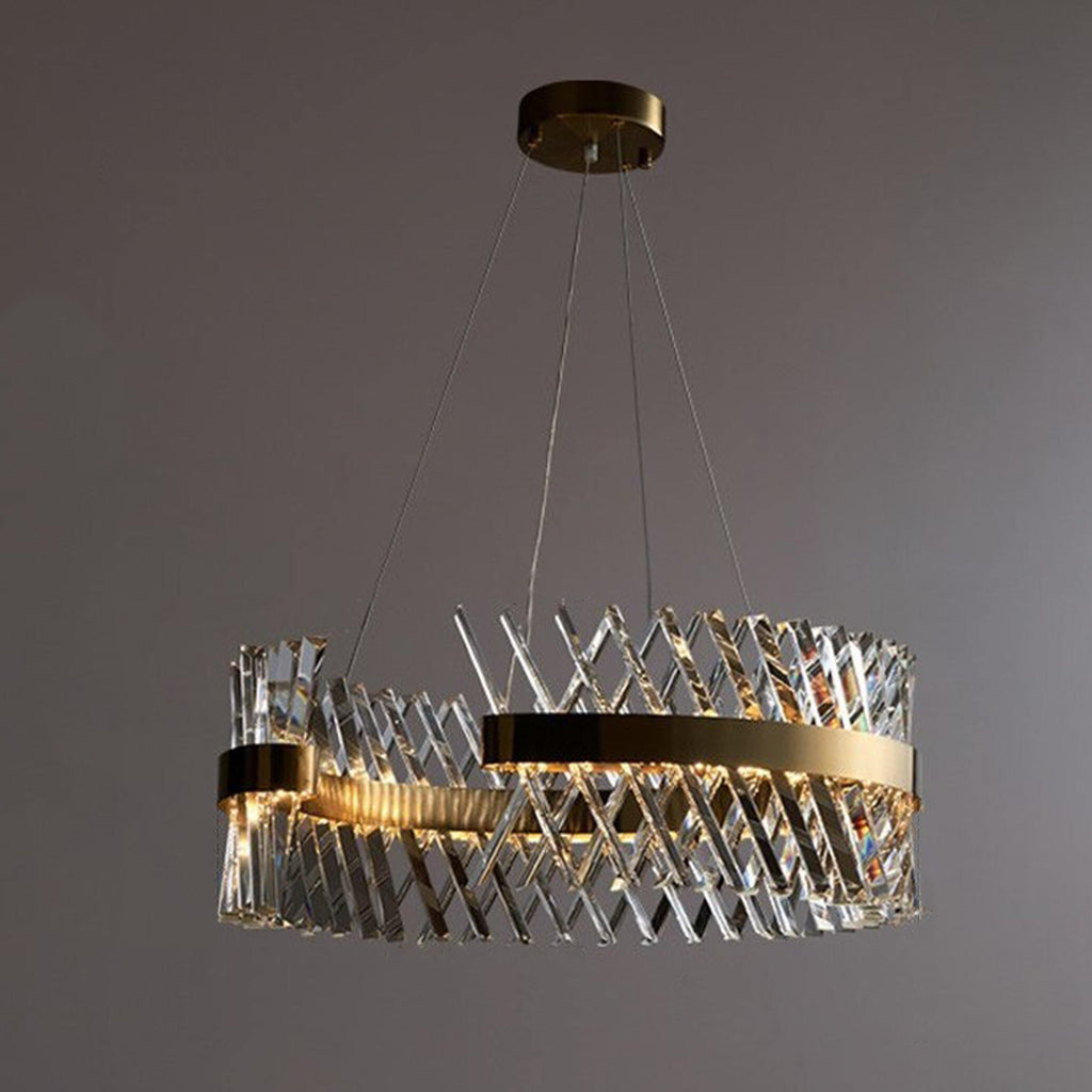 Ankur Criss Cross ThreeQ Round Contemporary Crystal Chandelier - Ankur Lighting
