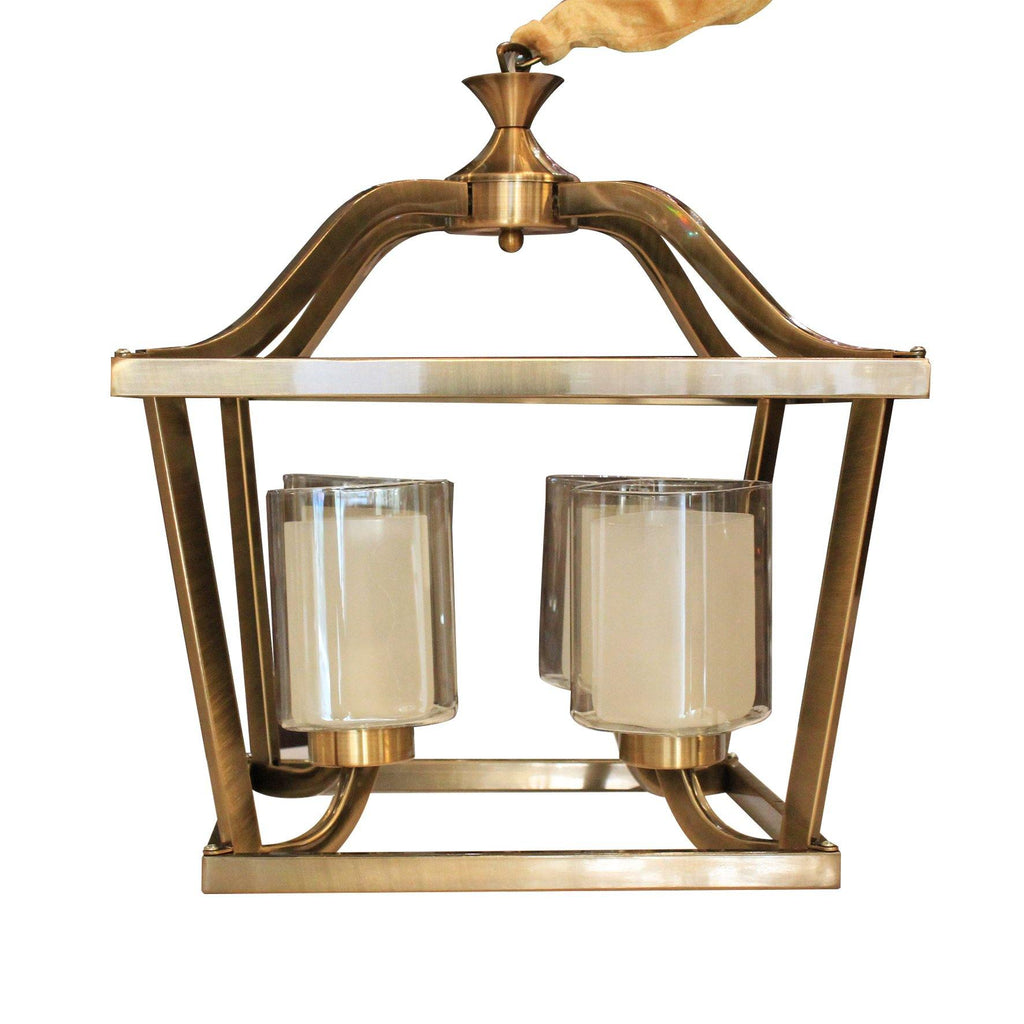 ANKUR Square 4 Lamp Casa Antique Brass Metal with Glass Chandelier - Ankur Lighting