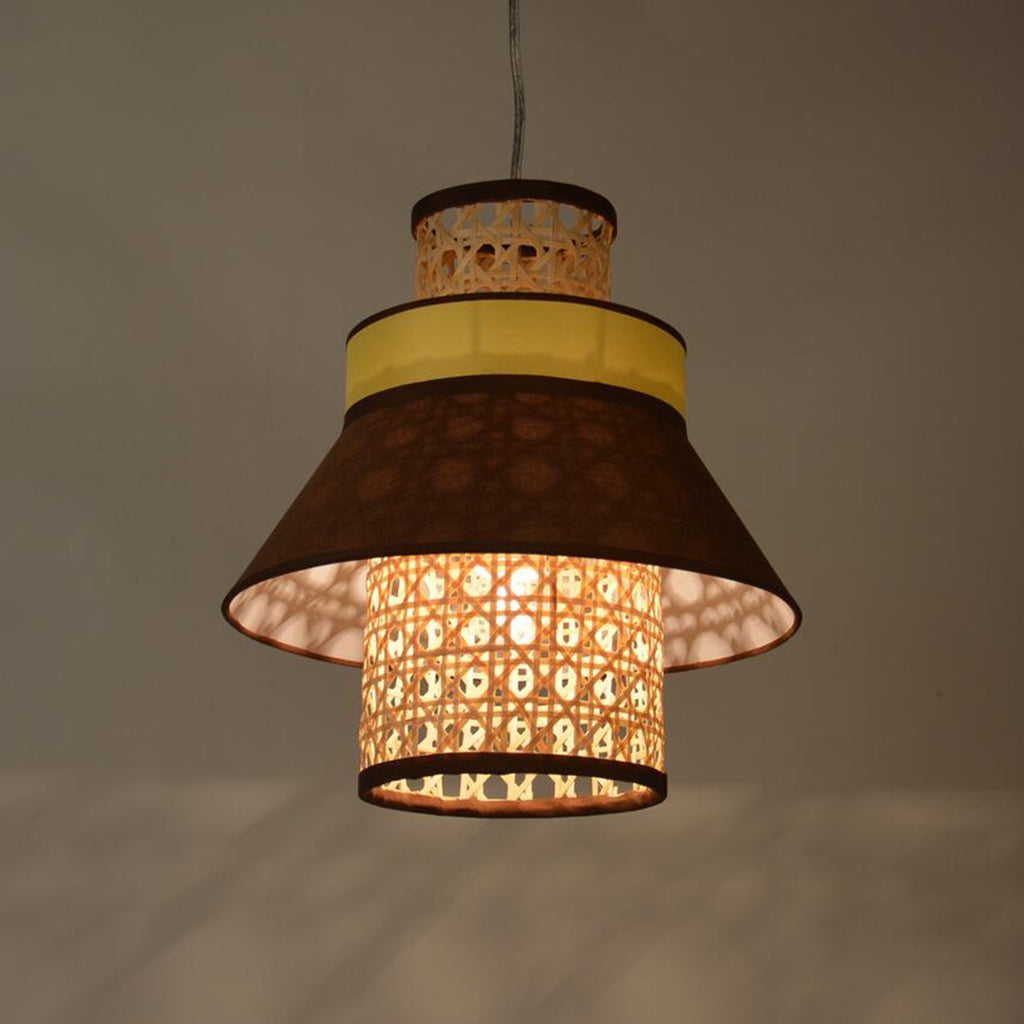 Ankur Retro Natural Bamboo Cane and Fabric Pendant Light Dark Brown