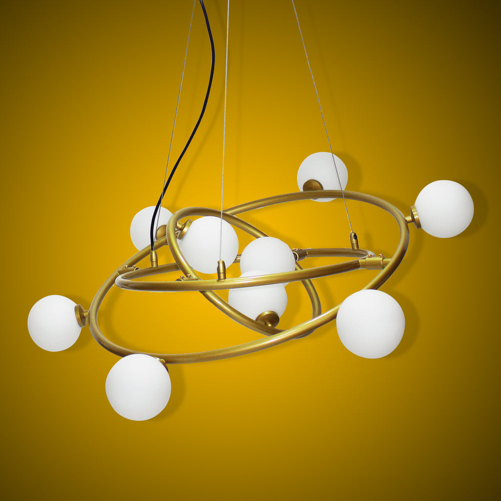 Ankur Saturn 9 Light Gold Chandelier with Milky White Globe