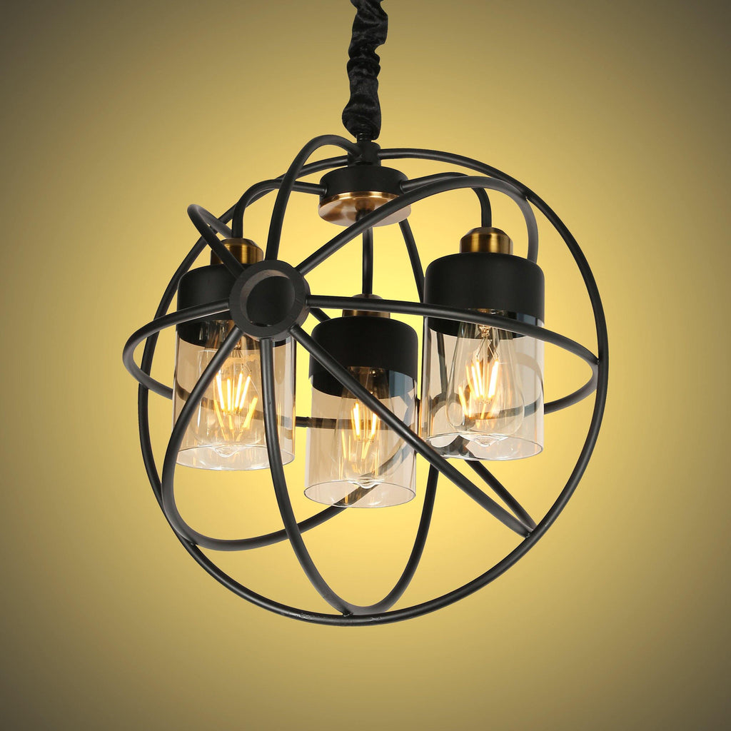 Ankur Hudson 3 Light Black Metal Sphere Cage with Amber/Champagne Glass Chandelier